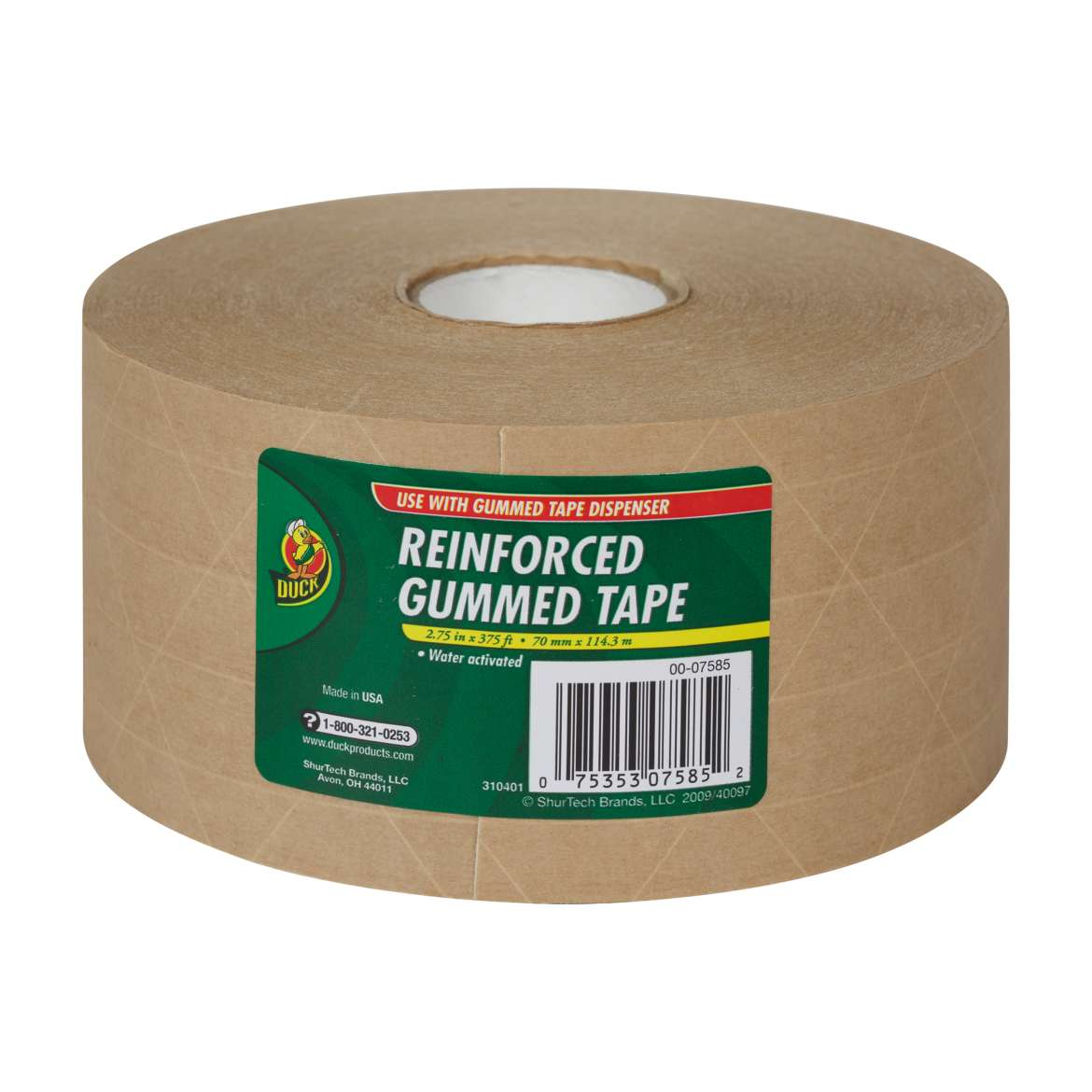 Duck® Brand Reinforced Gummed Tape - Tan, 2.75 in. x 375 ft. Image