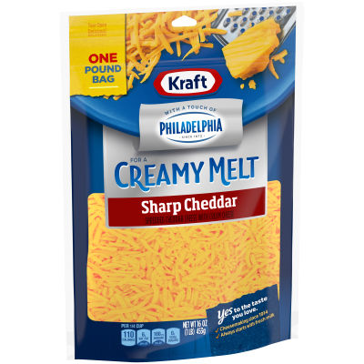Kraft Sharp Cheddar with a Touch of Philadelphia Shredded Natural Cheese 16 oz Pouch