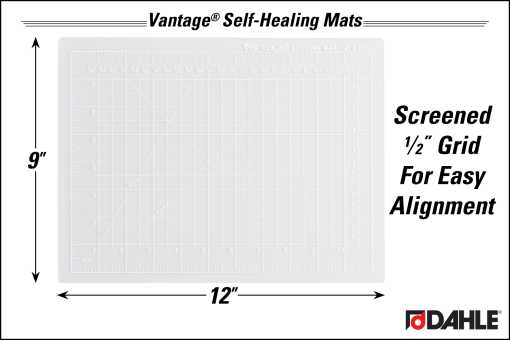 "Dahle Vantage® 9"" x 12"" Self-Healing Cutting Mat, Clear InfoGraphic"