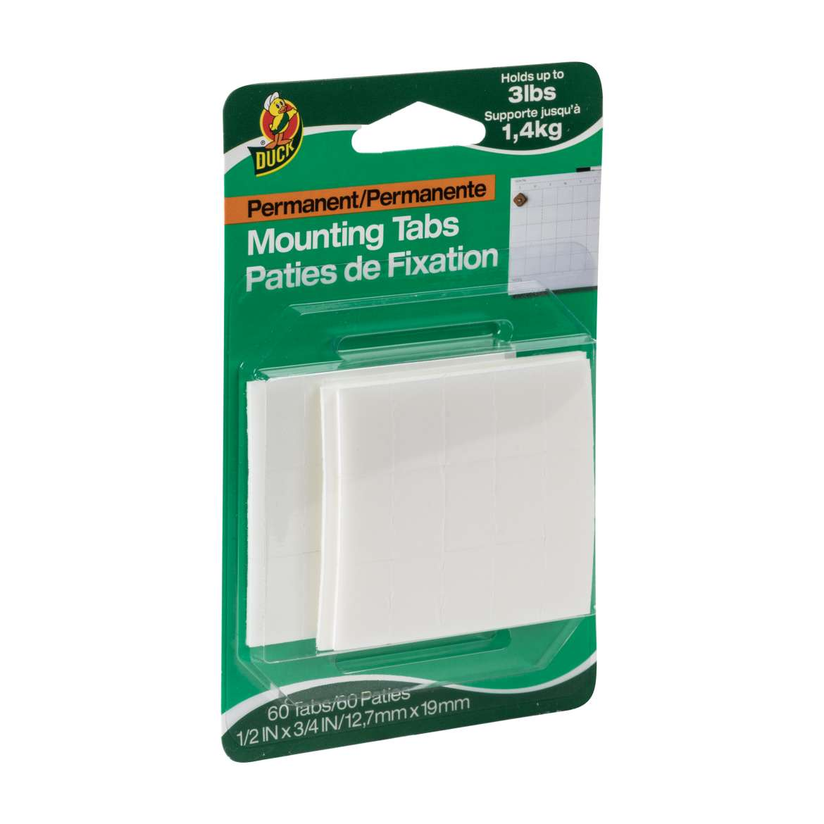 Duck® Brand Permanent Mounting Tabs - White, 60 pk, .5 in. x .75 in. Image
