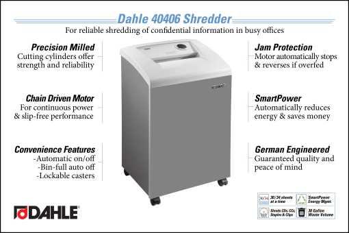 Dahle 40406 Office Shredder InfoGraphic