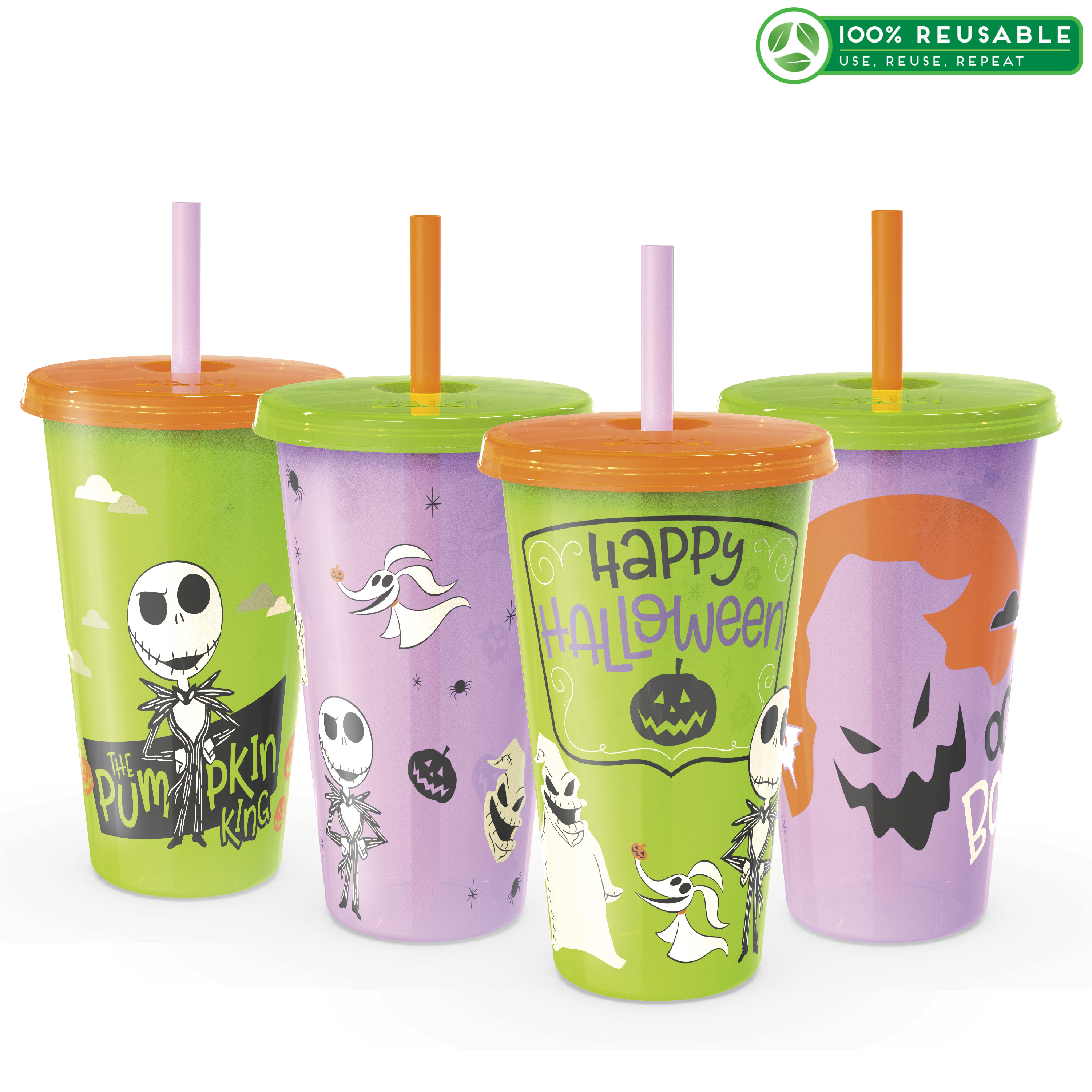 The Nightmare Before Christmas 24 ounce Reusable Plastic Kids Tumbler, Jack Skellington, Oogie Boogie & Zero, 4-piece set slideshow image 1