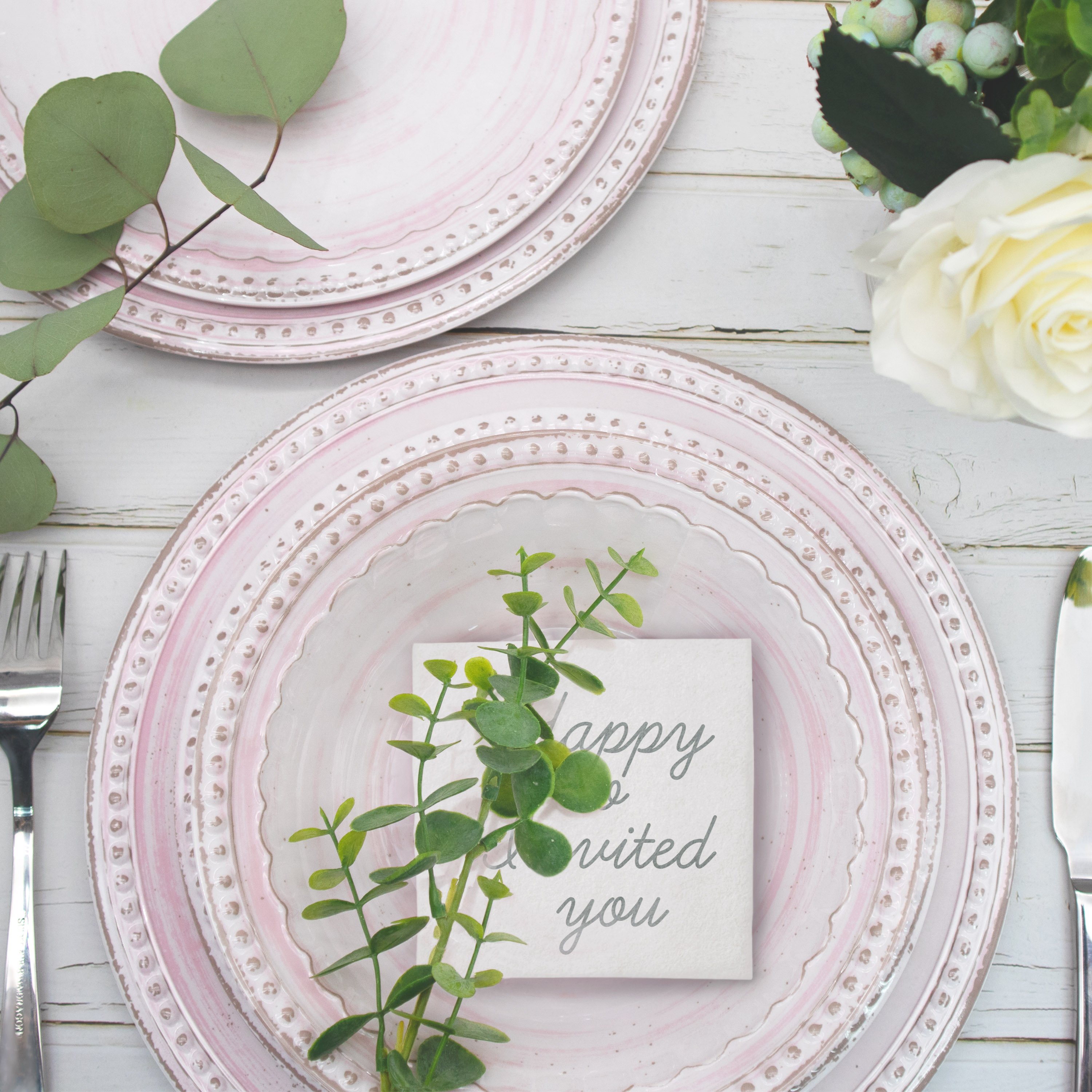 French Country Plate & Bowl Sets, Pink, 12-piece set slideshow image 3
