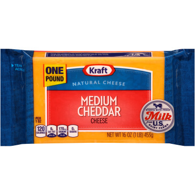 Kraft Medium Natural Cheddar Cheese Block 16 oz Wrapper