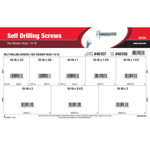 Hex Washer-Head Self-Drilling Screws Assortment (#10-16)