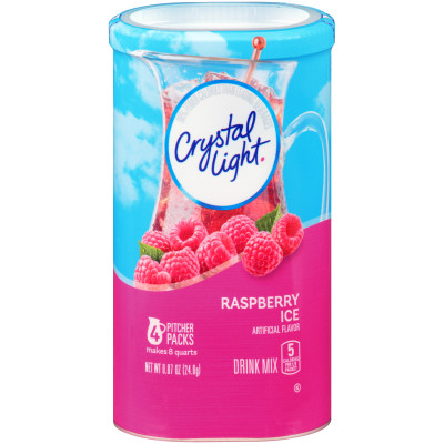 Crystal Light Sugar-Free Raspberry Ice Drink Mix 0.87 oz Wrapper (4 Pitcher Pack)