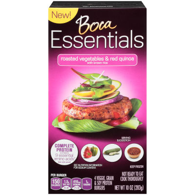 Boca Essentials Roasted Vegetables & Red Quinoa Veggie, Grain & Soy Protein Burgers 4 - 10 oz Boxes