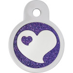 Purple Glitter Epoxy Heart Small Circle Quick-Tag