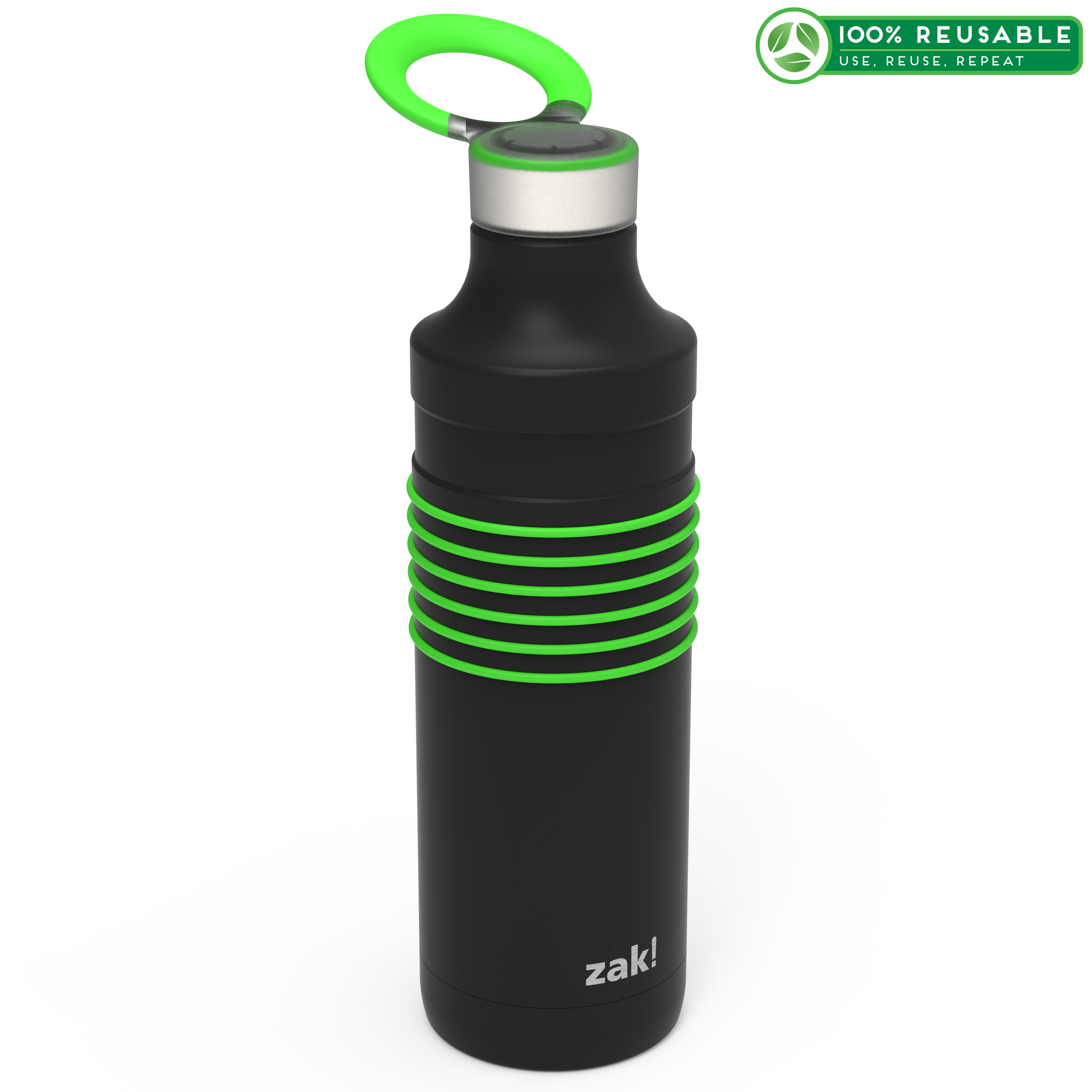 HydraTrak 22 ounce Vacuum Insulated Stainless Steel Tumbler, Black with Green Rings slideshow image 1