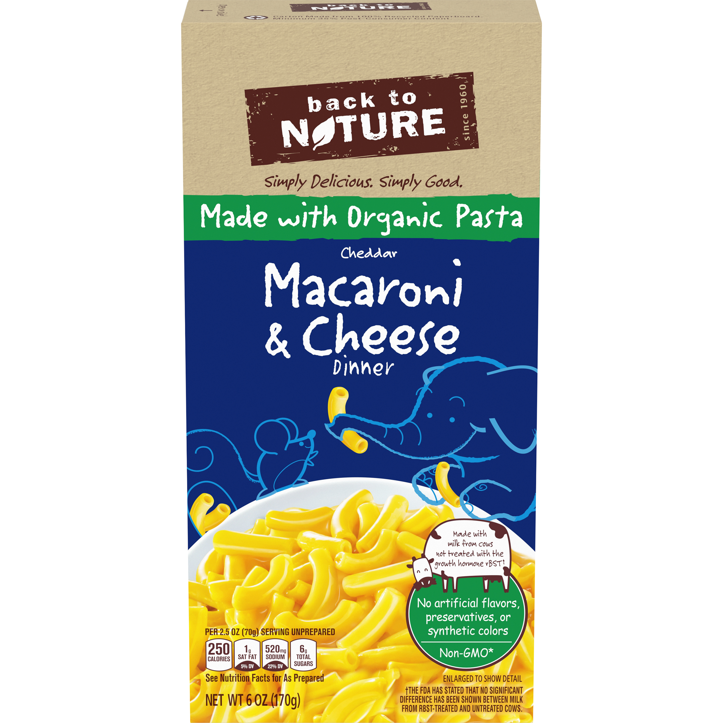 BACK TO NATURE Cheddar Macaroni & Cheese Dinner made with Organic Pasta 6 oz Box