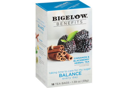 Benefits Cinnamon and Blackberry Herbal Tea - Case of 6 boxes- total of 108 teabags