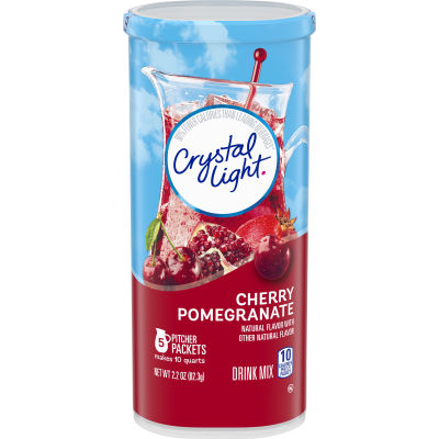 Crystal Light Cherry Pomegranate Drink Mix, 5 Pitcher Packs, 2.2 oz Canister