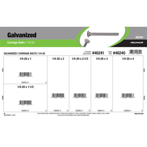 Galvanized Carriage Bolts Assortment (1/4