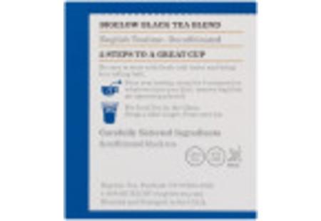 Ingredient panel  of English Teatime Decaf Tea box of 20 tea bags