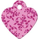 Pink Scroll Small Heart ID Spot Tag