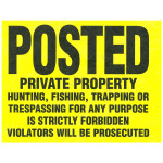 "Posted Private Property Tyvek Sign (11"" x 11"") 100 Pack"