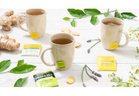 Mugs of Bigelow Herbal and Green Tea with Probiotics