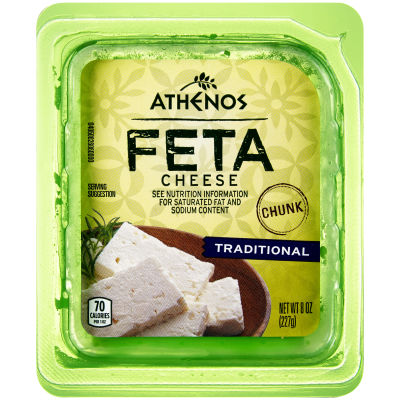 Athenos Chunk Traditional Feta Cheese 8 oz Tub