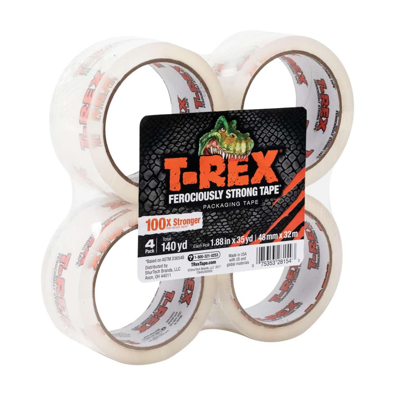 T-REX® Packaging Tape - Clear, 4 pk, 1.88 in. x 35 yd.