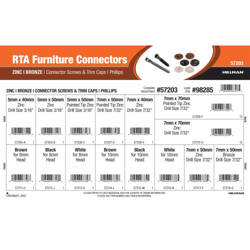 RTA Furniture Connectors Assortment (Zinc & Bronze Connector Screws and Trim Caps w/ Phillips Head)