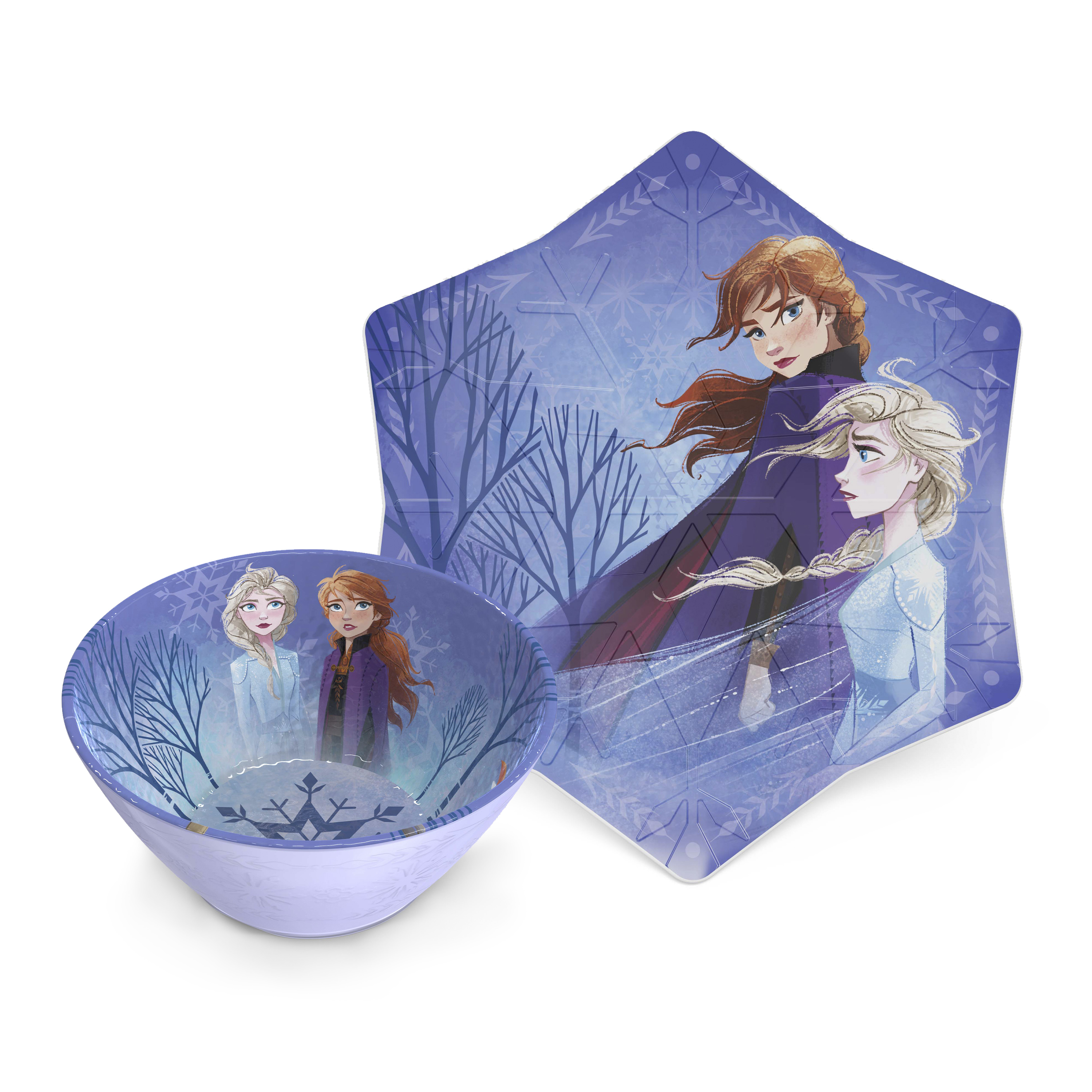 Disney Frozen 2 Movie Kid's Dinnerware Set, Anna and Elsa, 2-piece set slideshow image 2