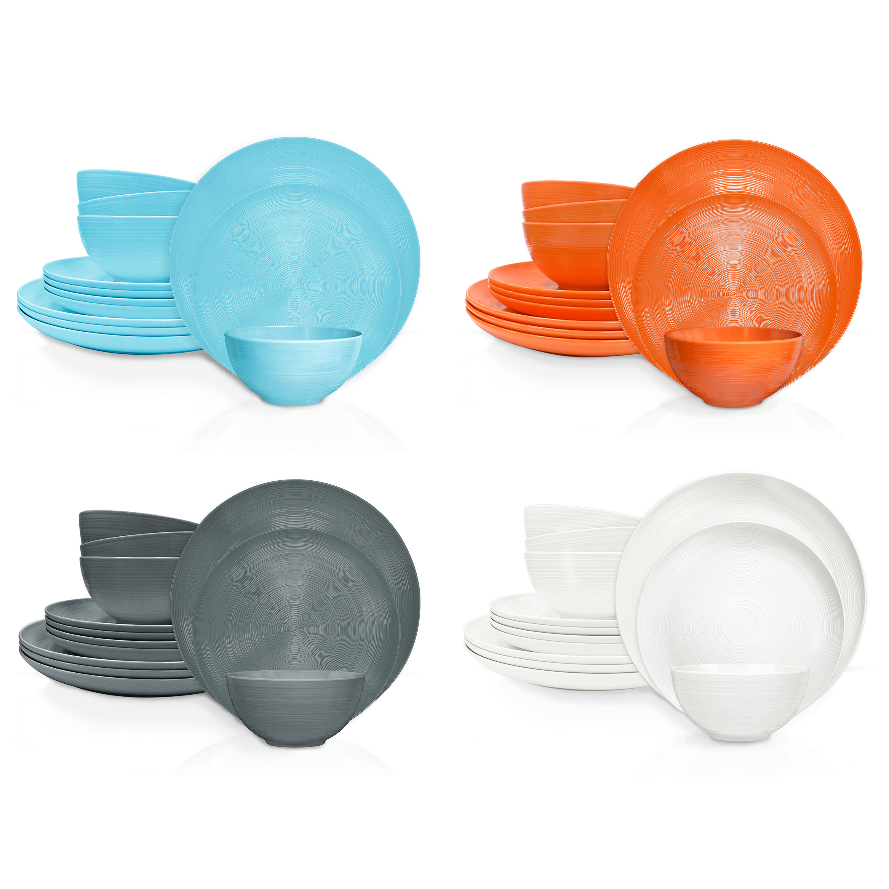 American Conventional Plate & Bowl Sets, White, 12-piece set slideshow image 12