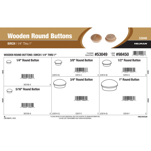 Birch Wooden Round Buttons Assortment (1/4