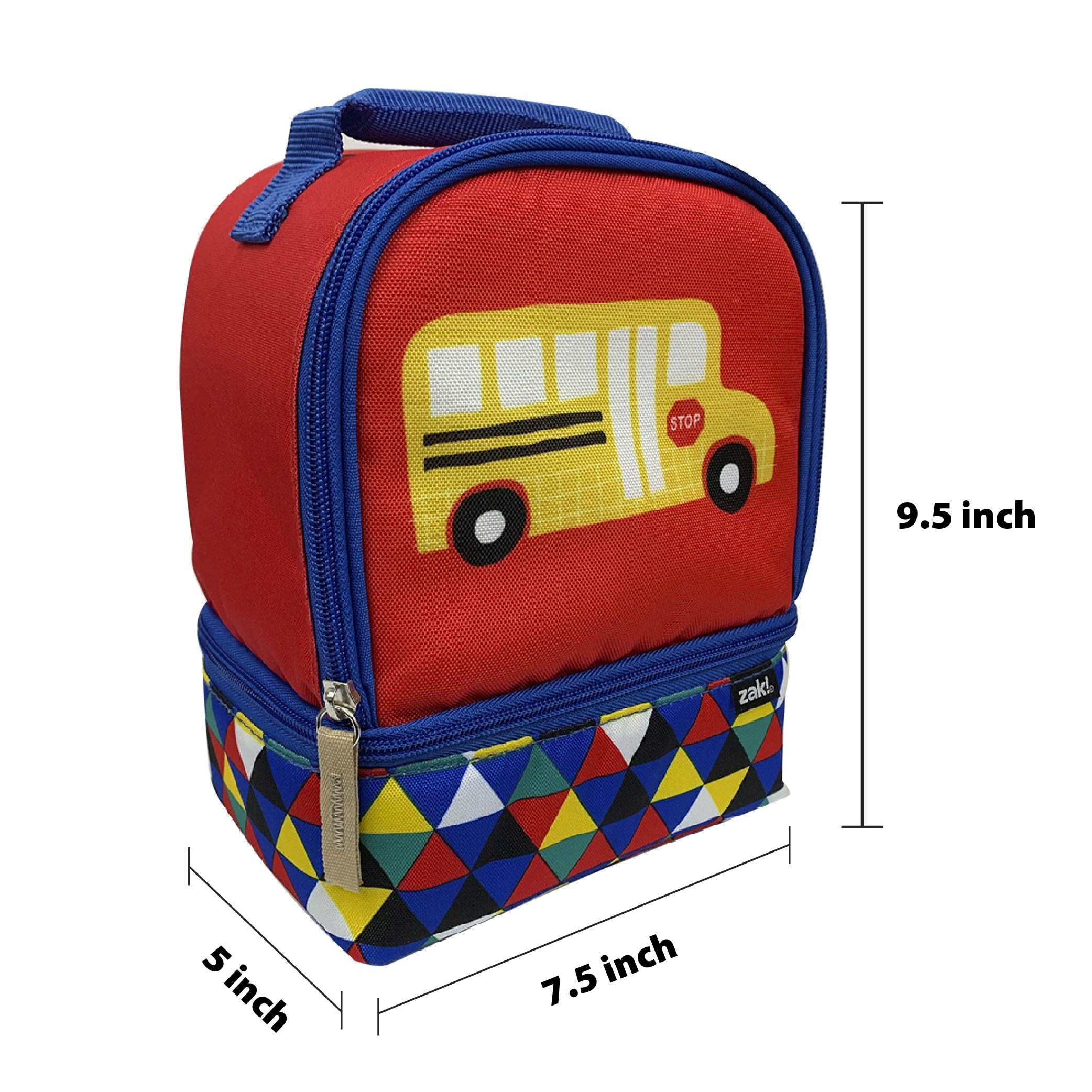Grid Lock 2-compartment Reusable Insulated Lunch Bag, Buses slideshow image 4