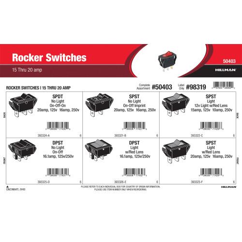 Rocker Switches Assortment (15 thru 20 Amp)