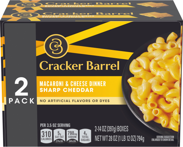 Cracker Barrel Sharp Cheddar Macaroni & Cheese Dinner, 2 – 14 oz Boxes