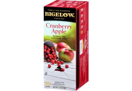 Right facing image of Cranberry Apple Herbal Tea Box of 28 tea bags