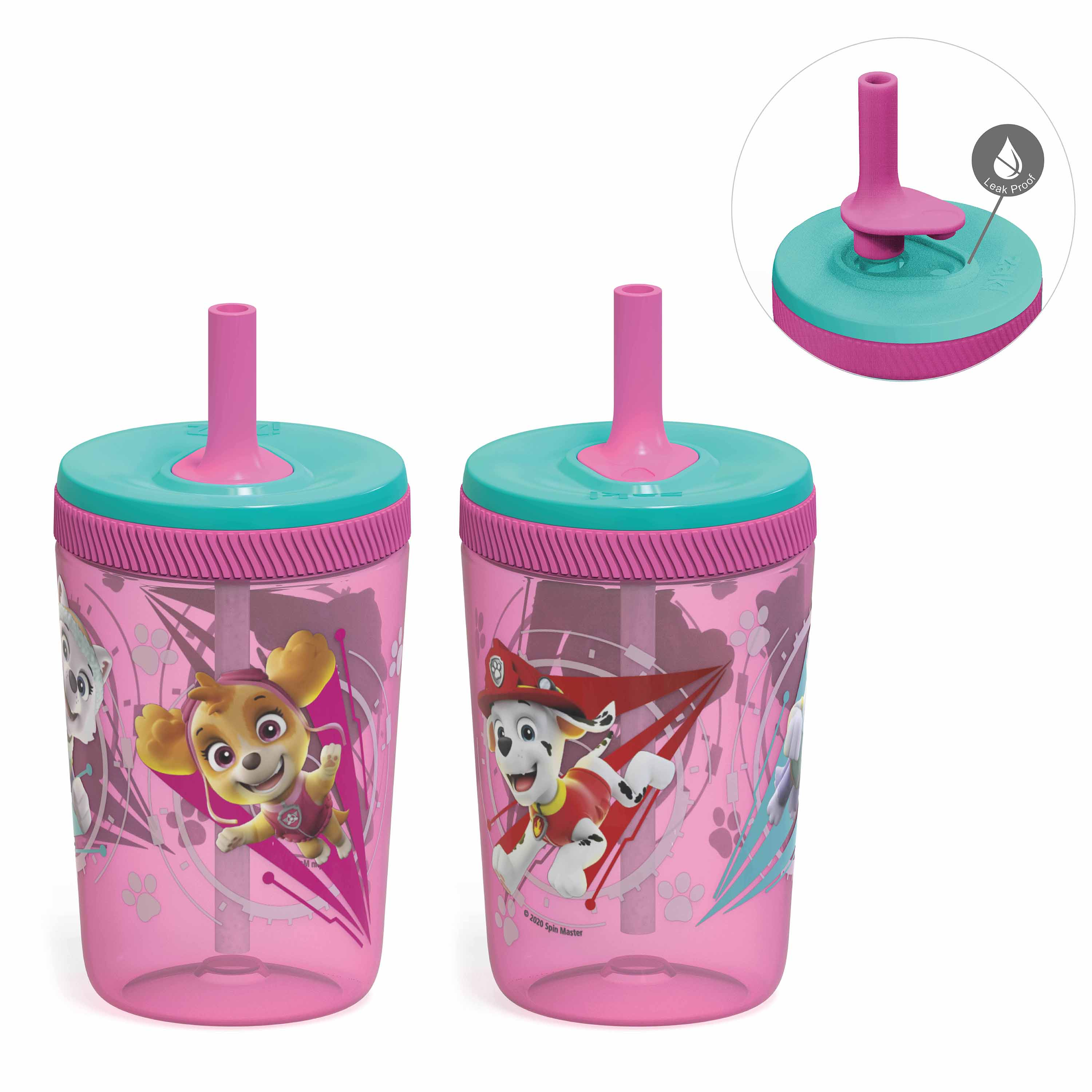 Paw Patrol 15  ounce Plastic Tumbler with Lid and Straw, Marshall and Skye, 2-piece set slideshow image 1
