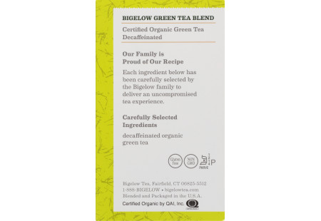 Ingredient panel of Organic Green Tea Decaf Tea box of 40 tea bags