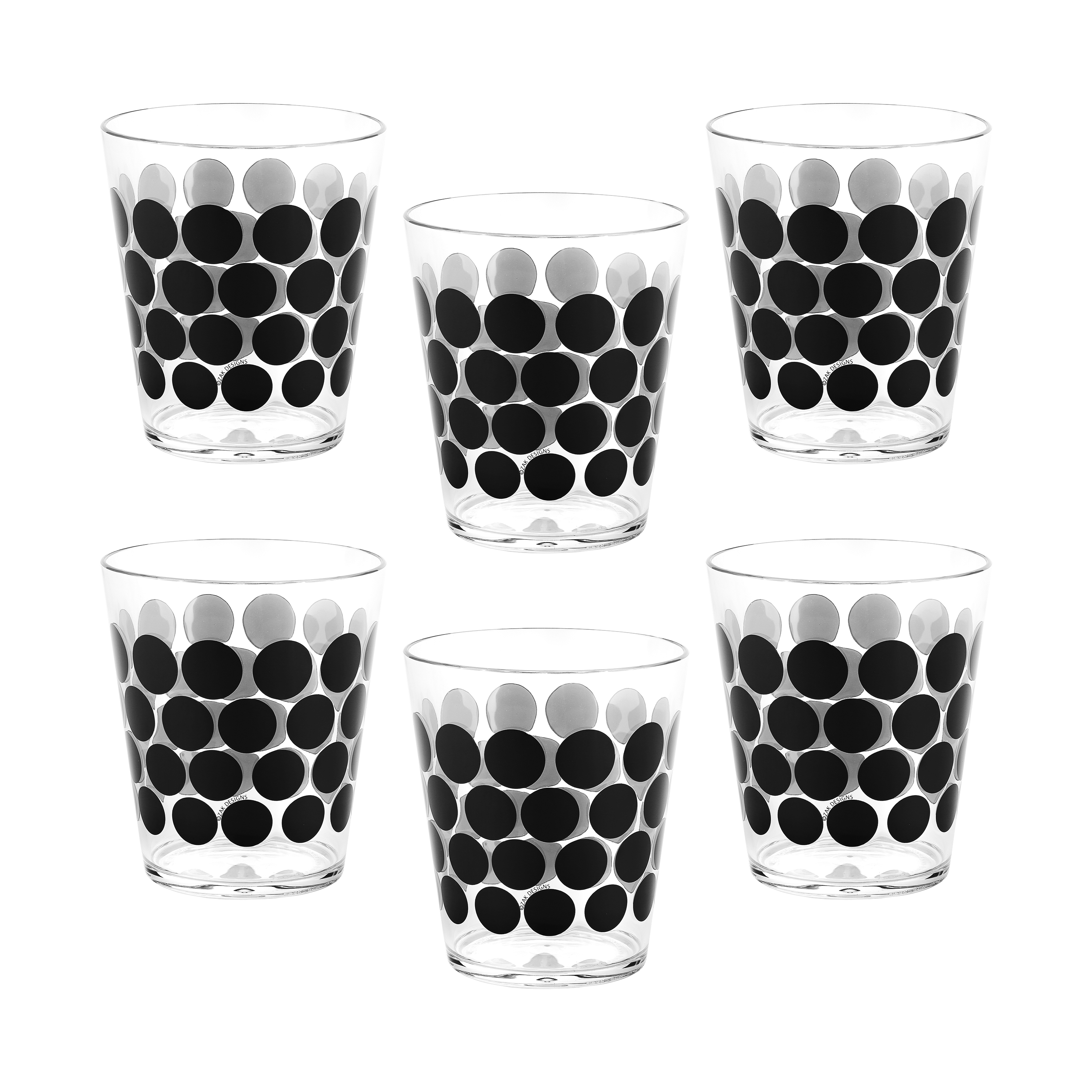 Dot Dot 15 ounce Old-Fashion Glass, Black, 6-piece set slideshow image 2