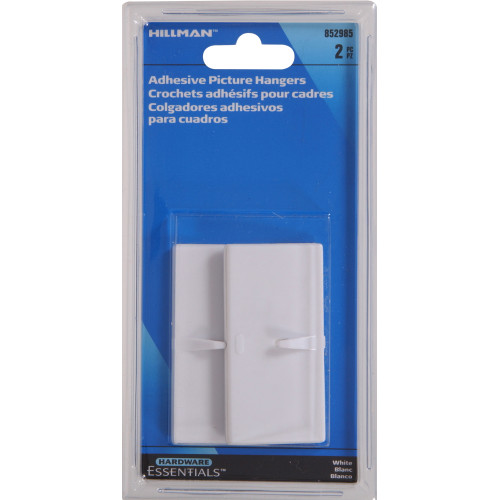 Hardware Essentials White Picture Hanger Adhesive Clips
