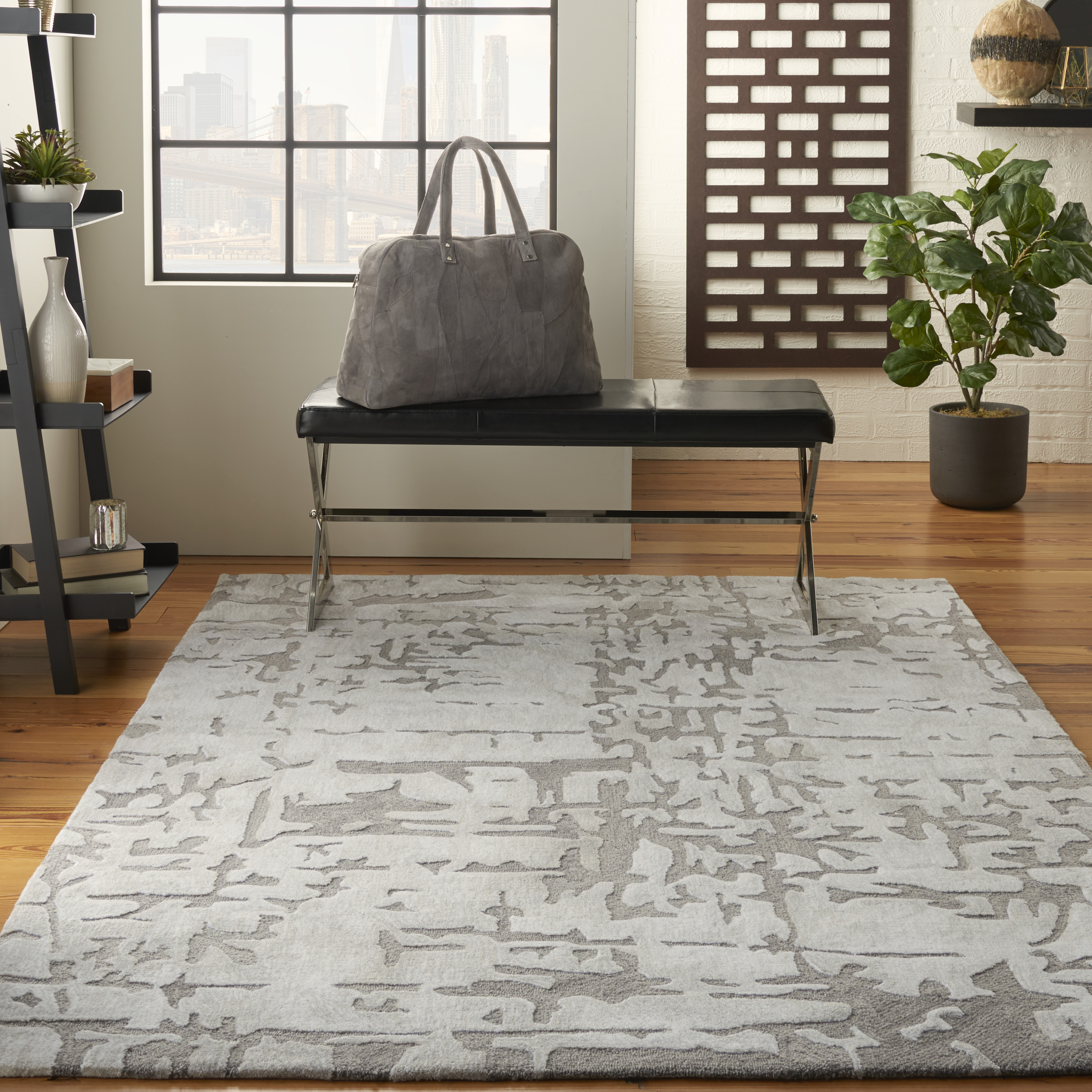 Nourison Symmetry SMM03 Ivory Taupe Rug