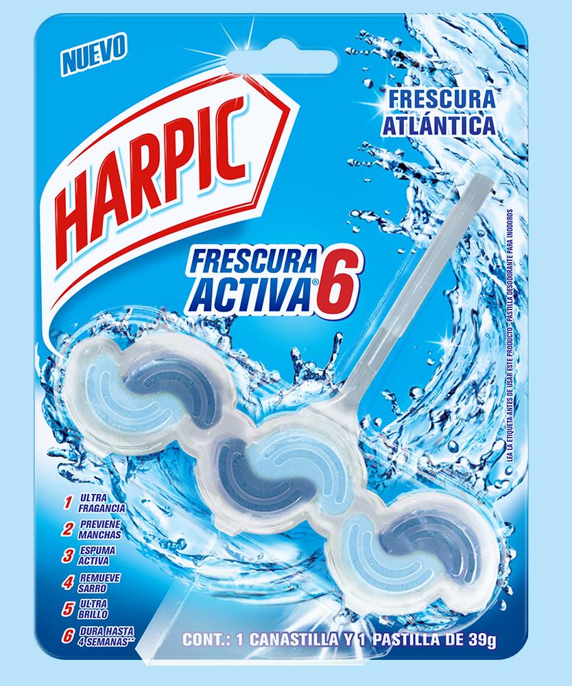 Harpic® FRESCURA ACTIVA Canastilla Pastilla Aromatizante para Inodoros, Frescura Atlántica, 39g