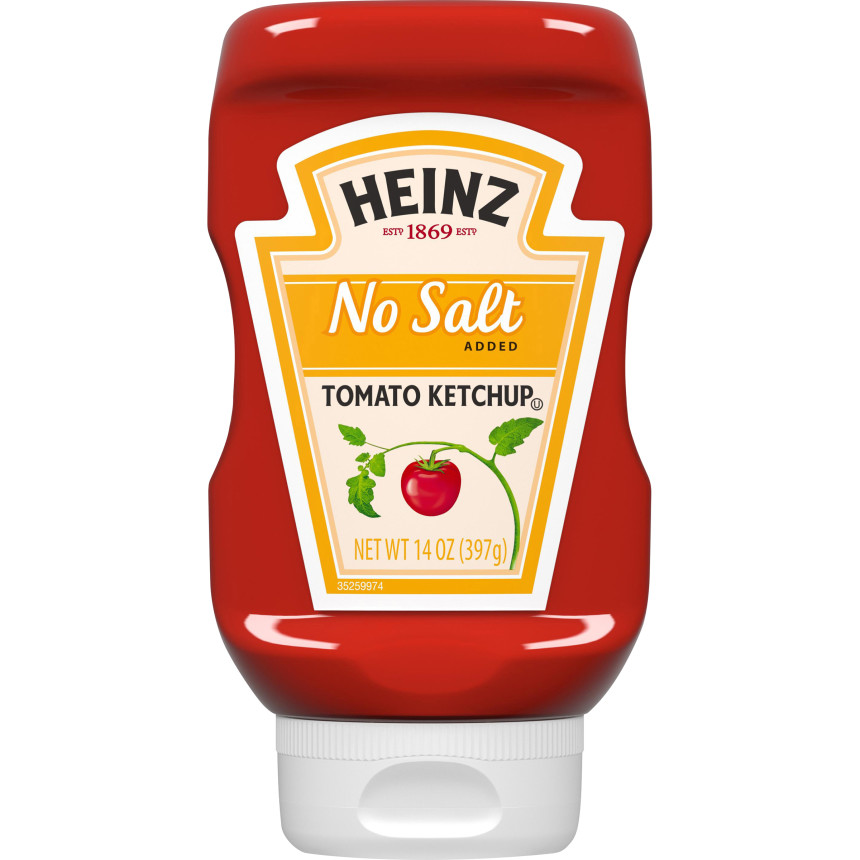 Heinz No Salt Added Inverted Bottle Tomato Ketchup, 14 oz Bottle image