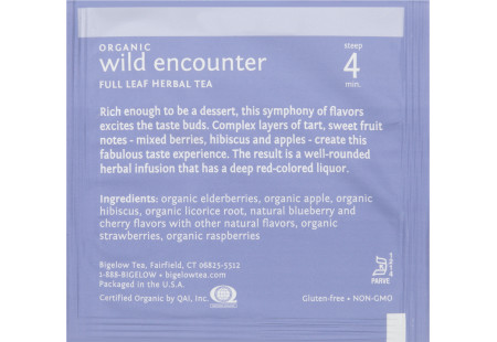 steep cafe by Bigelow organic full leaf wild encounter herbal tea pyramid bag in overwrap - Ingredient list