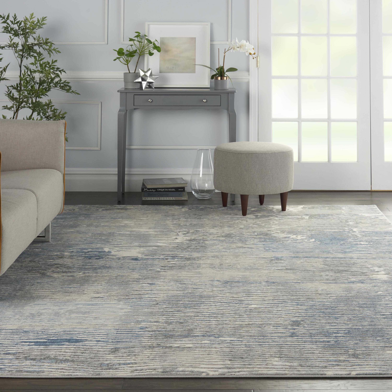 Nourison Solace SLA01 Ivory Grey Blue Rug