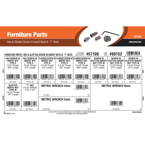 Furniture Parts Assortment (Hex & Slotted Screw-In Insert Nuts and T-Nuts)