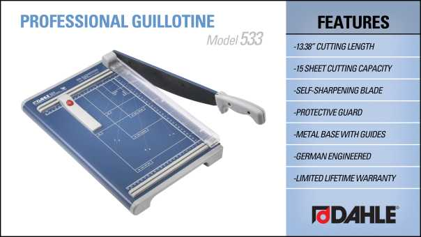 Dahle 533 Professional Guillotine Trimmer InfoGraphic