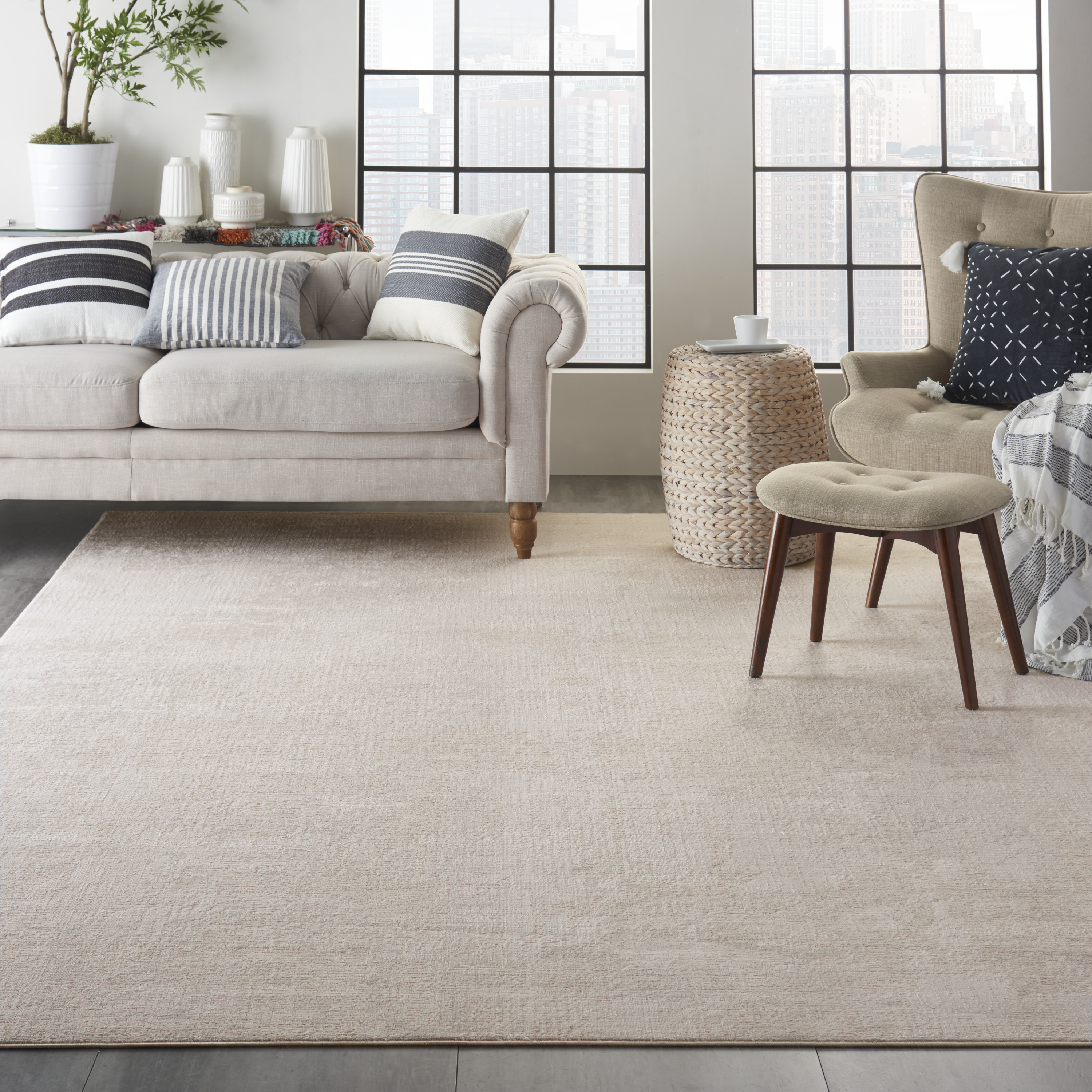 Nourison Silky Textures SLY01 Ivory Grey Rug