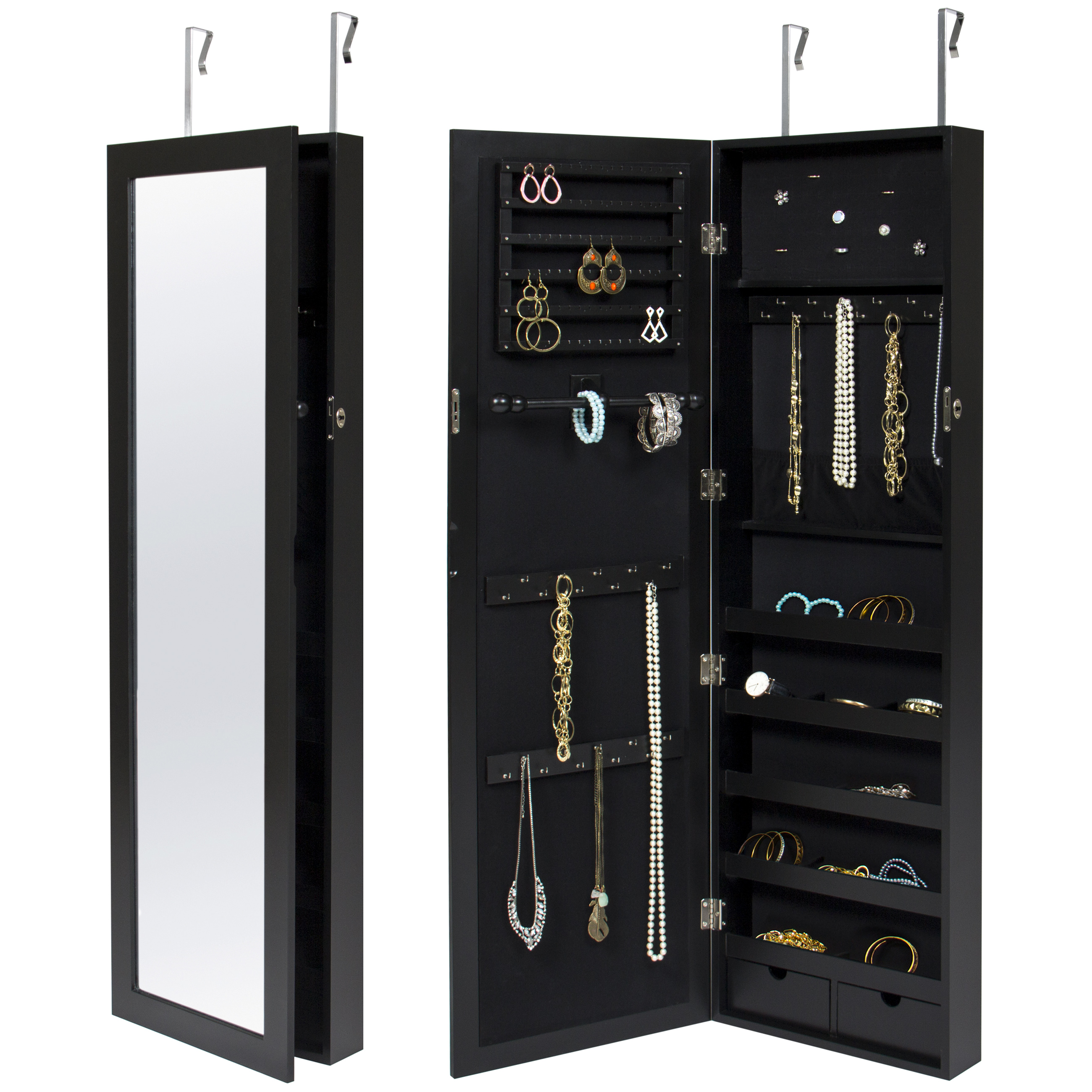 locking wall cabinet wall door mounted locking mirror jewelry cabinet organizer 22786