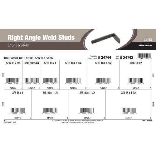 Right Angle Weld Studs Assortment (5/16