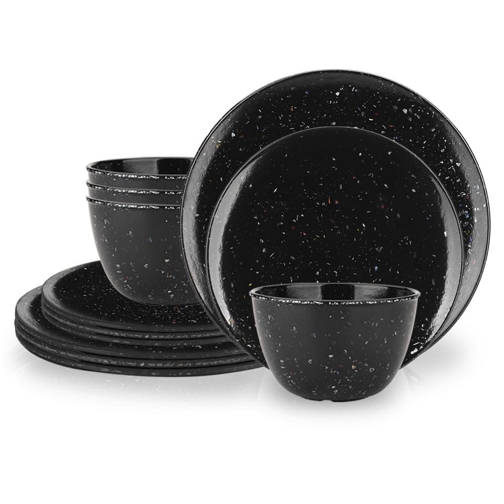 Confetti Dinner Plate, Salad Plate and Bowl Dinnerware Set, Black, 12-piece set image