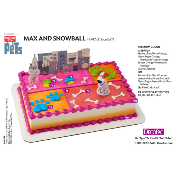 The Secret Life of Pets™ Max and Snowball Cake Decorating Instruction Card