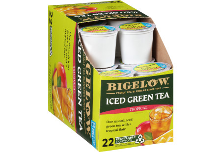 Box of Tropical Iced Green Tea K-cup pods - total of 22 pods