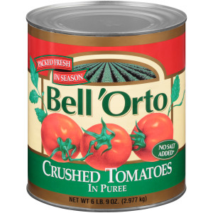 BELL ORTO No Salt Added Crushed Tomato in Puree, 105 oz. Can (Pack of 6) image