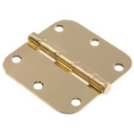 "Hardware Essentials 5/8"" Round Corner Brass Door Hinges (3-1/2"")"